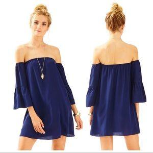 Lilly Pulitzer Navy Blue Sanilla Silk Dress